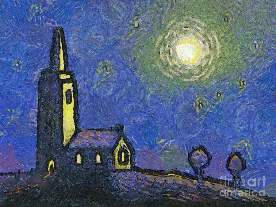 Vincent Painting - Starry Church by Pixel Chimp