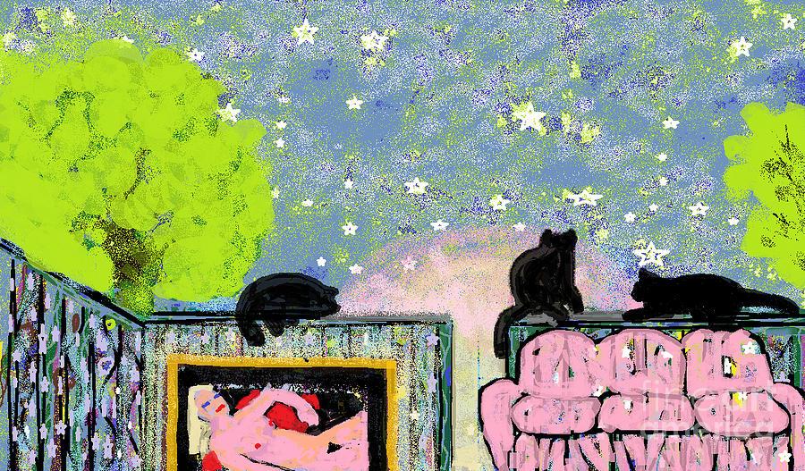 Cats Digital Art - Starry Evening by Beebe  Barksdale-Bruner