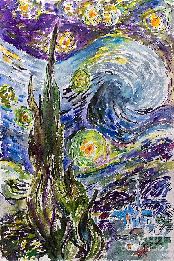 Starry Night After Vincent Van Gogh Painting by Ginette Callaway