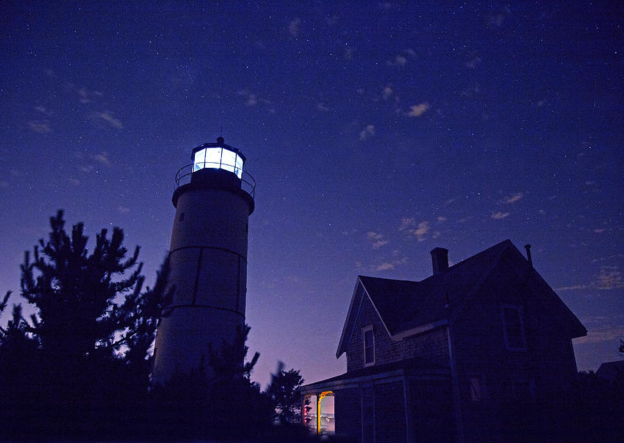 Stars Photograph - Starry Night At Sandy Neck Lighthouse by Charles Harden
