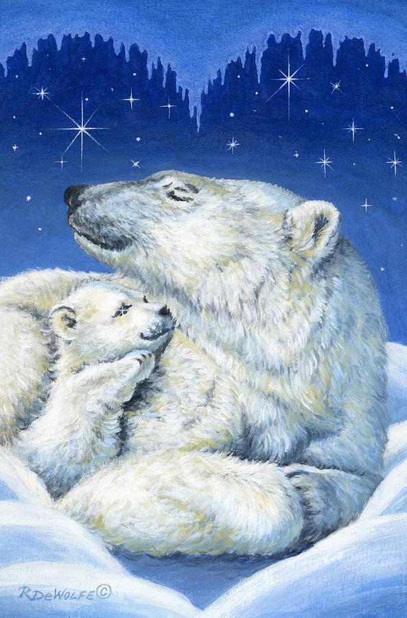 Winter Painting - Starry Night Bears by Richard De Wolfe