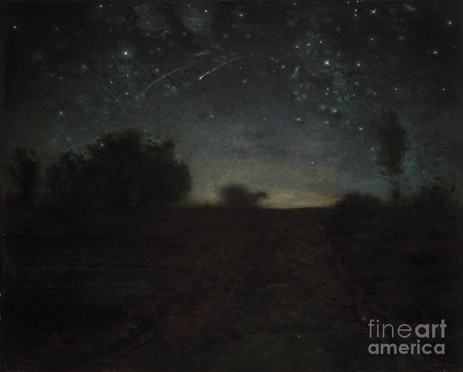 Black Painting - Starry Night by Jean-Francois Millet