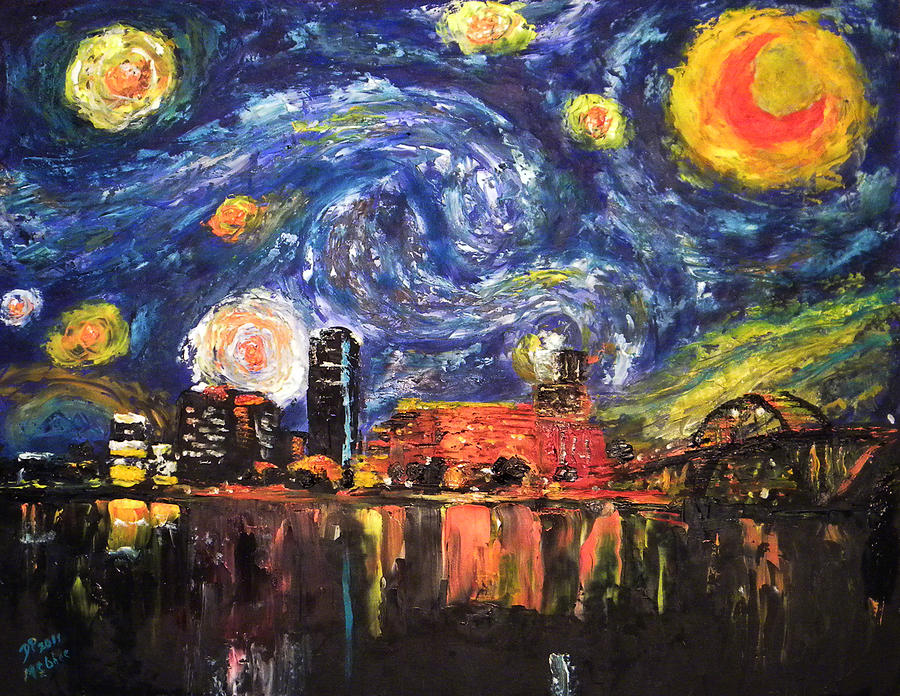 Starry Night Painting - Starry Night - Little Rock by David McGhee