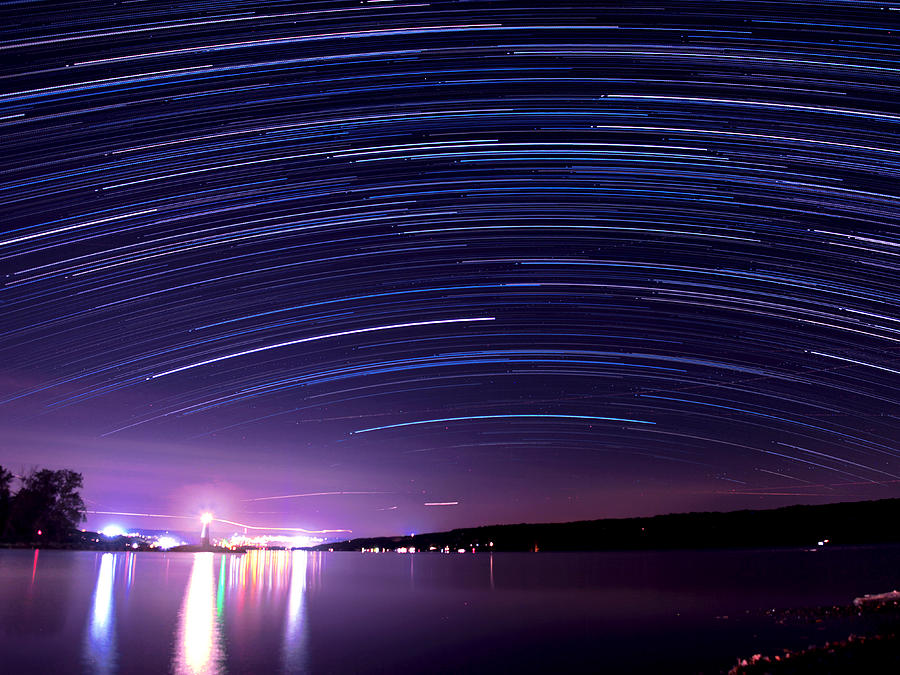 Star Photograph - Starry Night On Cayuga Lake by Paul Ge