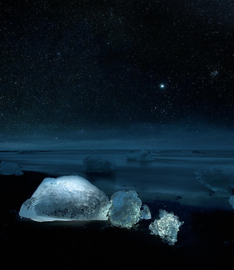 Starry Night Over Ice On Black Sand Photograph by Arctic-images