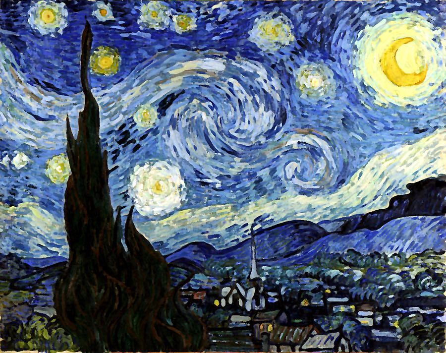 Starry Night Reproduction Art Work Digital Art by Vincent van Gogh