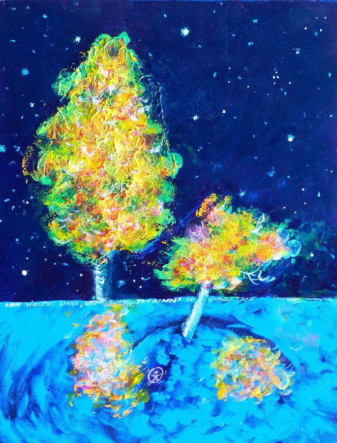 Starry Night With Almost Solitary Tree Painting
