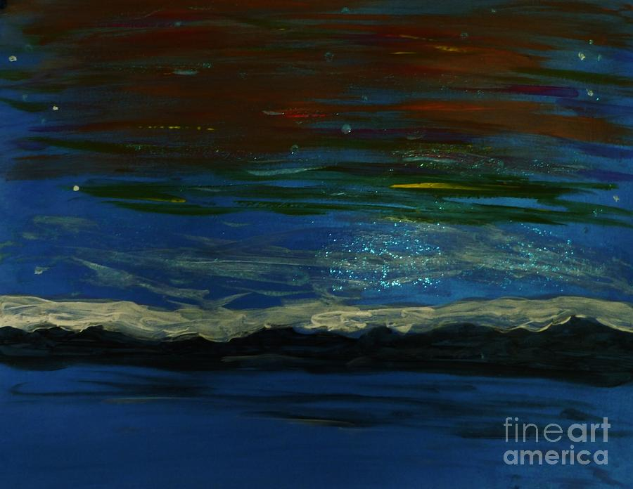 Abstract Painting - Starry Sky Over Water by Marie Bulger