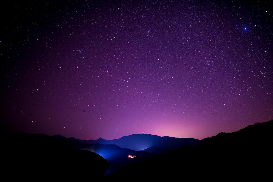Starry sky scene on high mountains, South China Photograph by Heibaihui