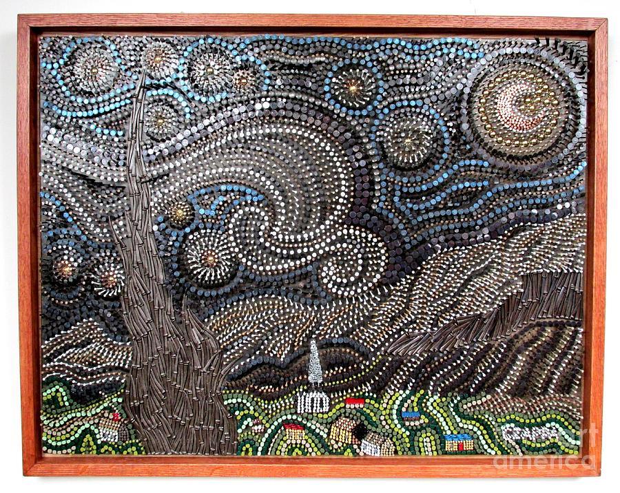Wood Sculpture - Starry Starry Night 2   by Bill Czappa