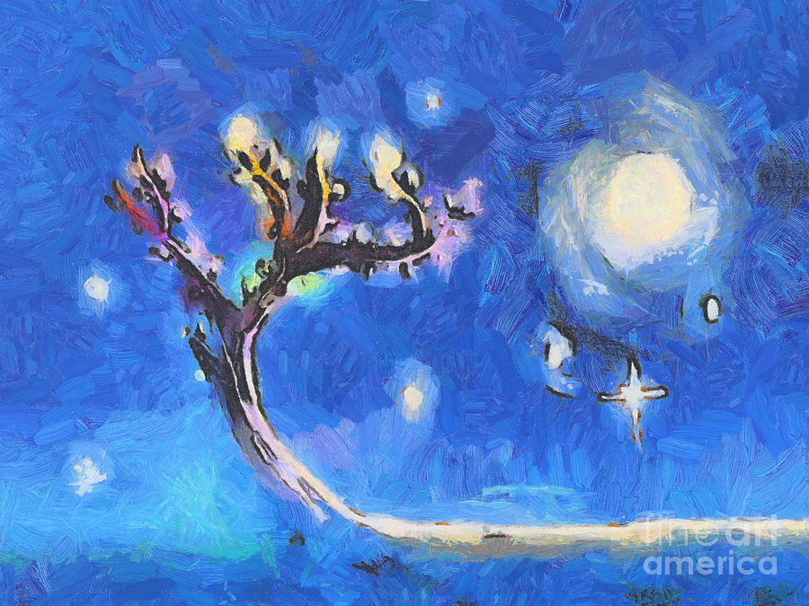 Tree Painting - Starry Tree by Pixel  Chimp