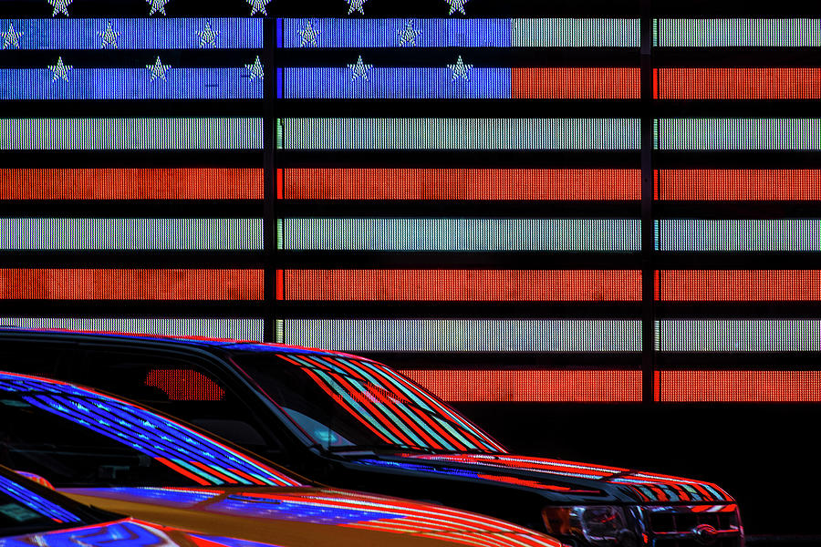 Street Photograph - Stars And Stripes Reflected by Linda Wride