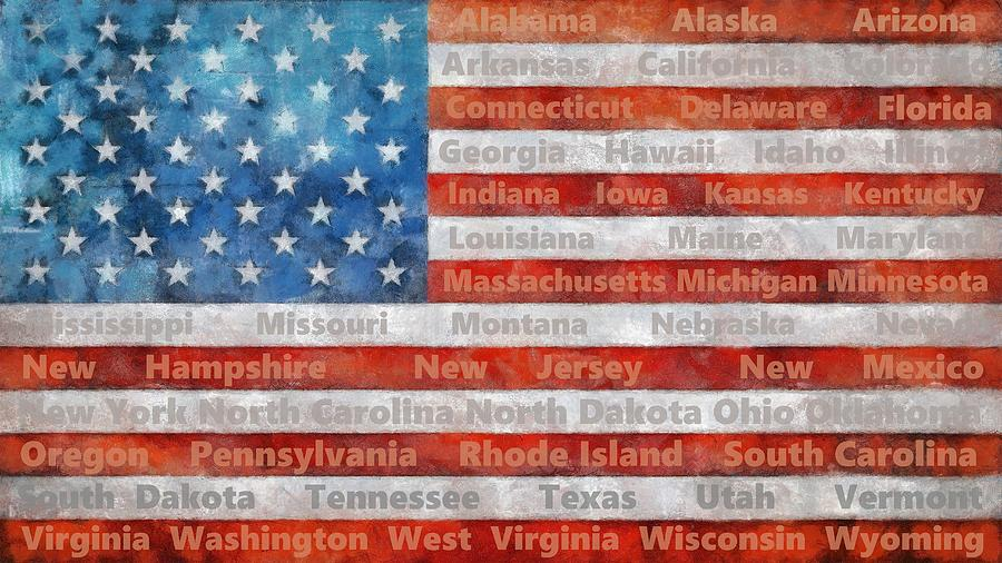 Stars And Stripes With States Digital Art by Michelle Calkins