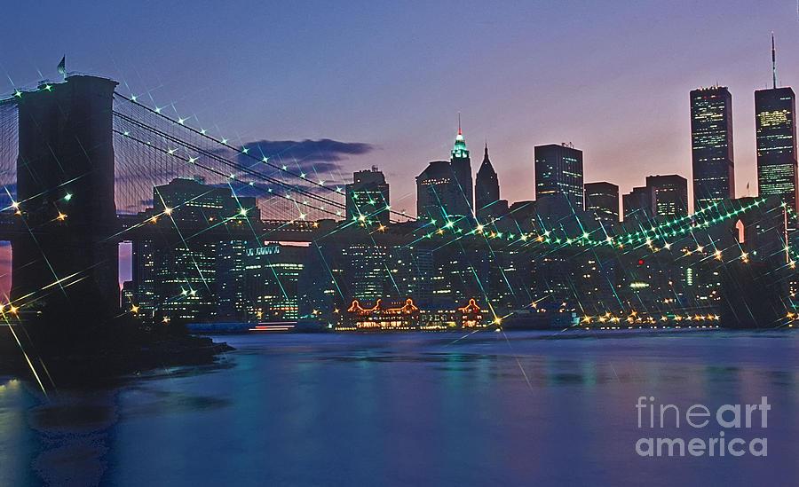 Stars Photograph - Stars Brooklyn Bridge by Bruce Bain