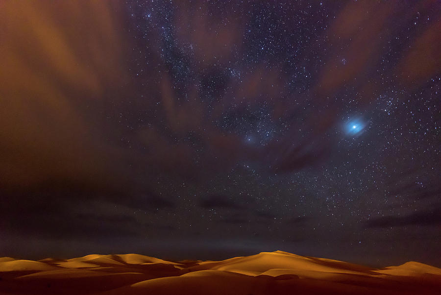 Africa Photograph - Stars, Dunes And Clouds In Marzuga Desert by Tristan Shu
