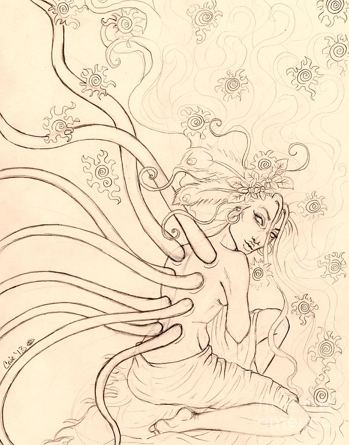 Star Drawing - Stars Entwined In Her Hair by Coriander  Shea