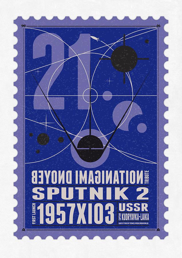 Minimal Digital Art - Starschips 21- Poststamp - Sputnik 2 by Chungkong Art