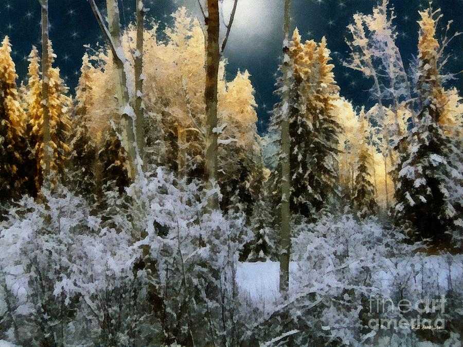 Forest Painting - Starshine On A Snowy Wood by RC deWinter
