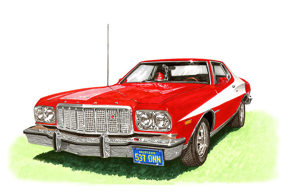 Movie Cars Painting - Starsky Hutch 1974 Ford Gran Torino Sport by Jack Pumphrey