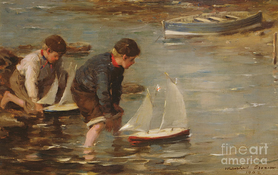 Beach Painting - Starting The Race by William Marshall Brown