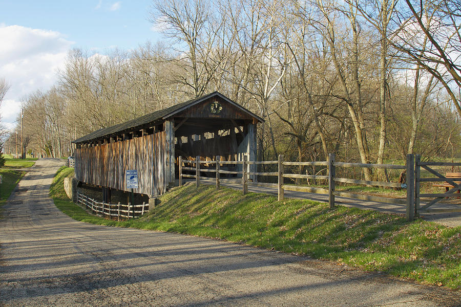 Ohio Photograph - State Line Or Bebb Park Covered Bridge by Jack R Perry