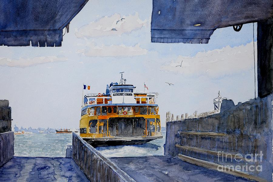 Boat Painting - Staten Island Ferry Docking by Anthony Butera
