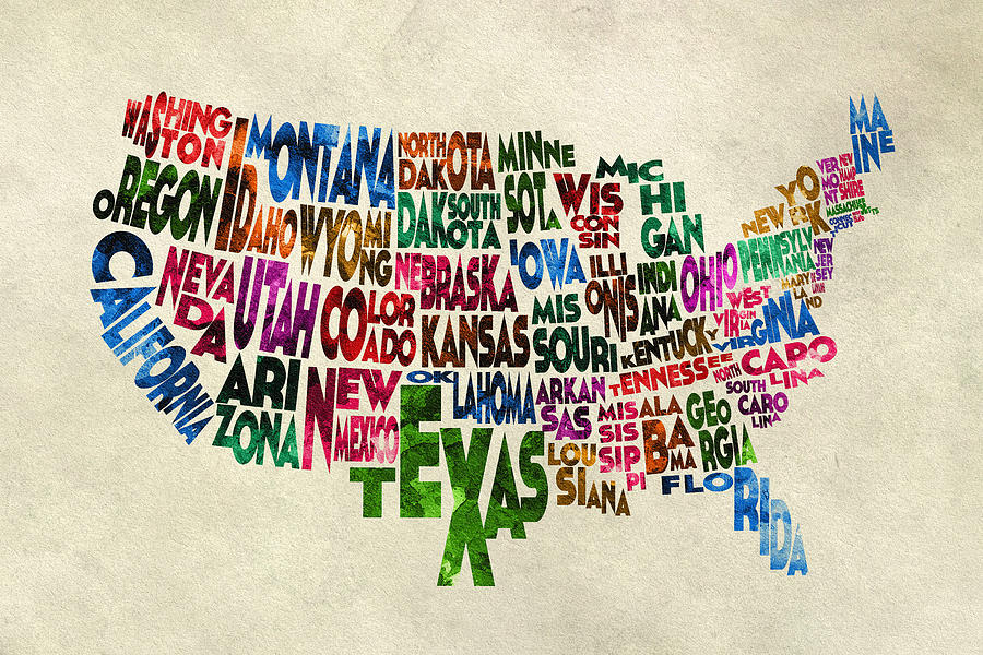 States Of United States Typographic Map Parchment Style Painting