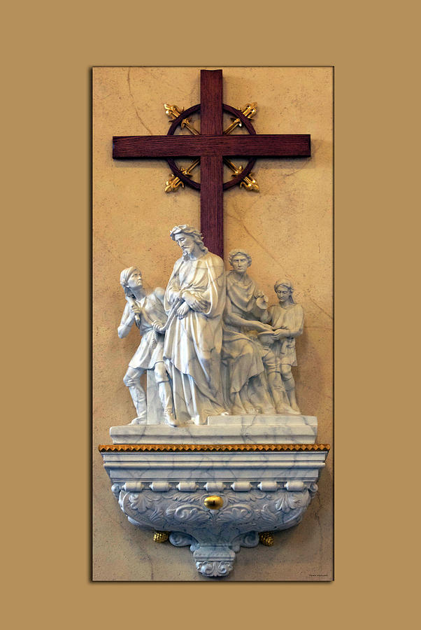 Statue Photograph - Station Of The Cross 01 by Thomas Woolworth