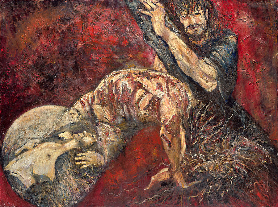 Stations Of The Cross Painting - Station V Simon Of Cyrene Helps Jesus Carry His Cross by Patricia Trudeau