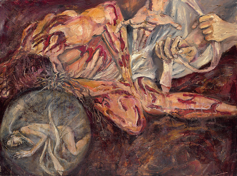Portrait Painting - Station X Jesus Is Stripped Of His Garments by Patricia Trudeau