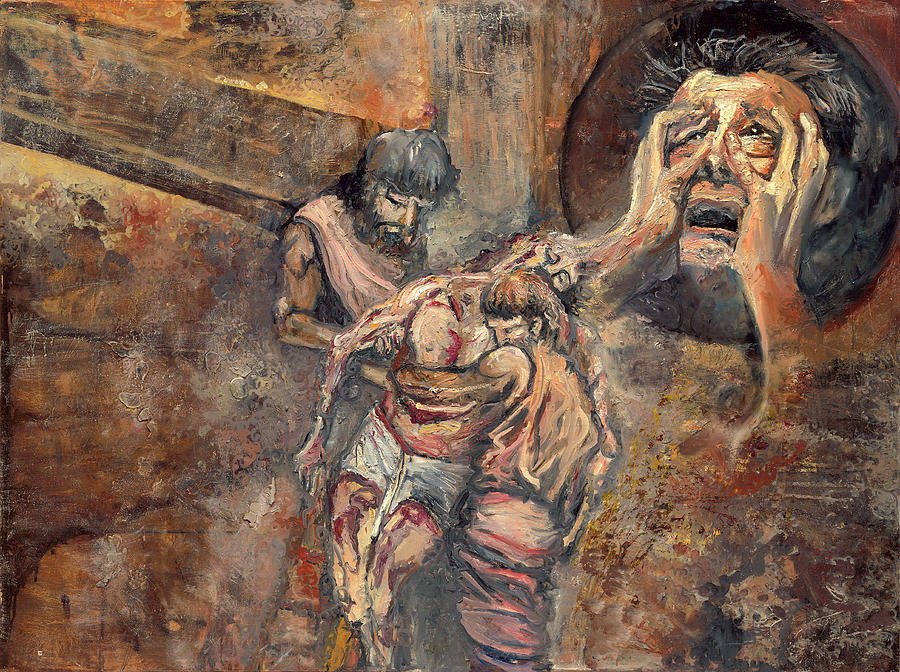 Portrait Painting - Station Xiii The Body Of Jesus Is Taken Down From The Cross by Patricia Trudeau