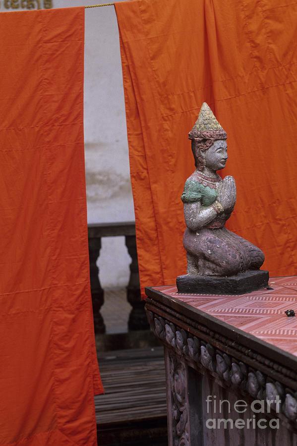 Asia Photograph - Statue At Wat Phnom Penh Cambodia by Ryan Fox