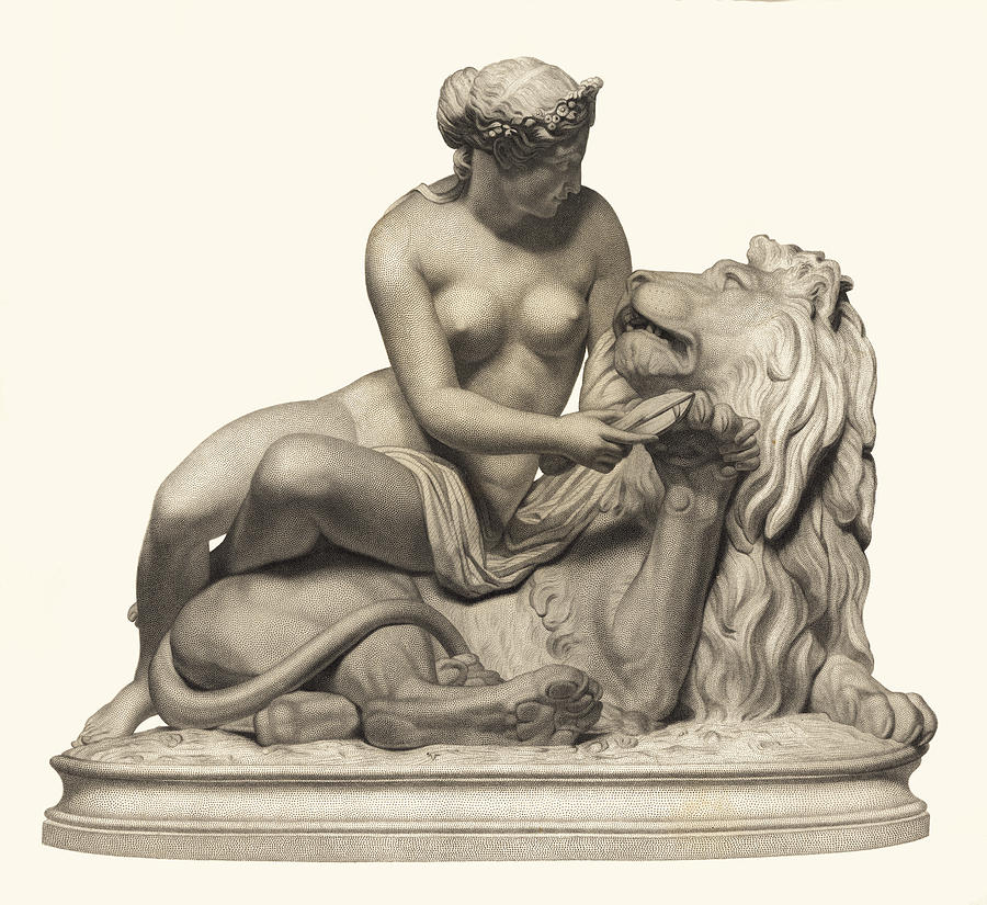 Lion Woman Lady Marble Sculpture Antique Classic Museum Quality Detail Gentle Beast Holding Paw Painting - Statue Woman And Lion by Private Collection
