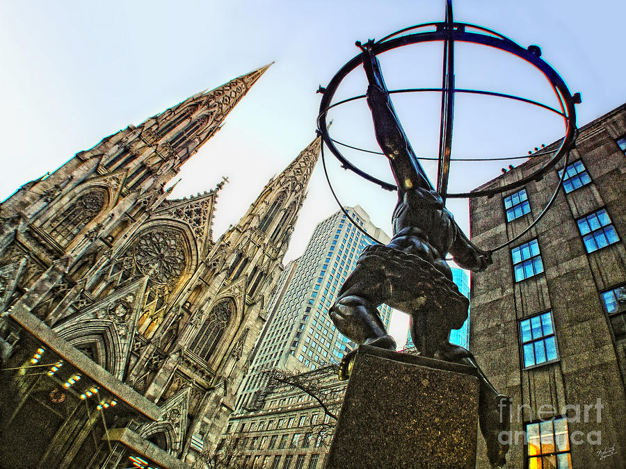 Atlas Statue New York Photograph - Statue Of Atlas Facing St.patricks Cathedral by Nishanth Gopinathan