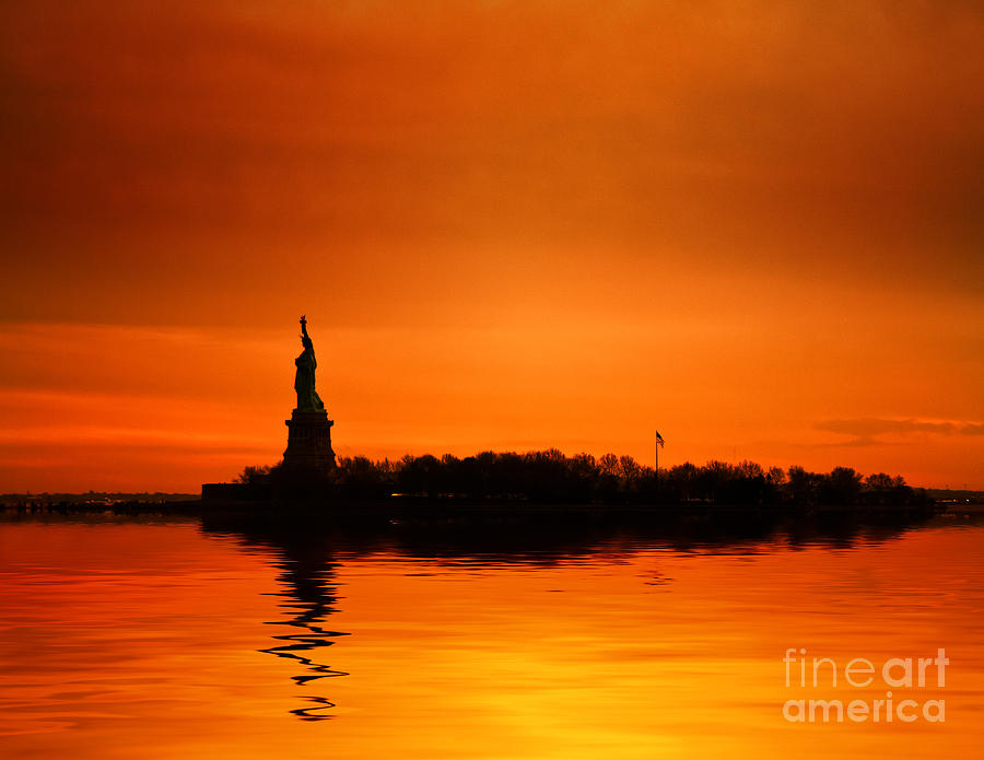 New York Skyline Photograph - Statue Of Liberty At Sunset by John Farnan