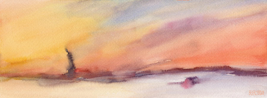 Statue Of Liberty Painting - Statue Of Liberty At Sunset Watercolor Painting Of New York by Beverly Brown Prints