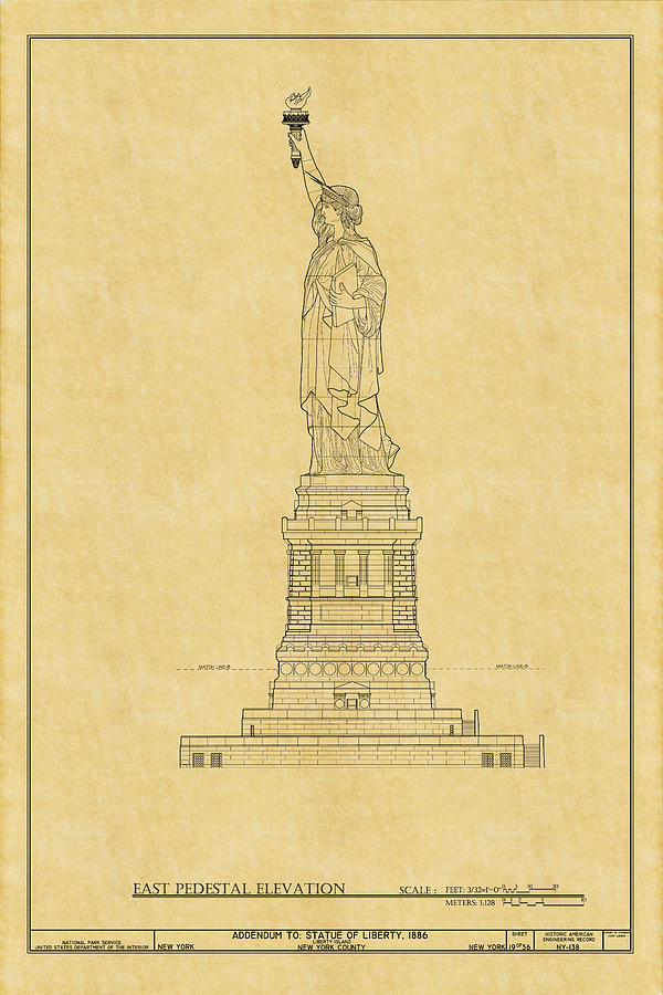 Statue of liberty blueprint 2 photograph by andrew fare new york photograph statue of liberty blueprint 2 by andrew fare malvernweather Gallery