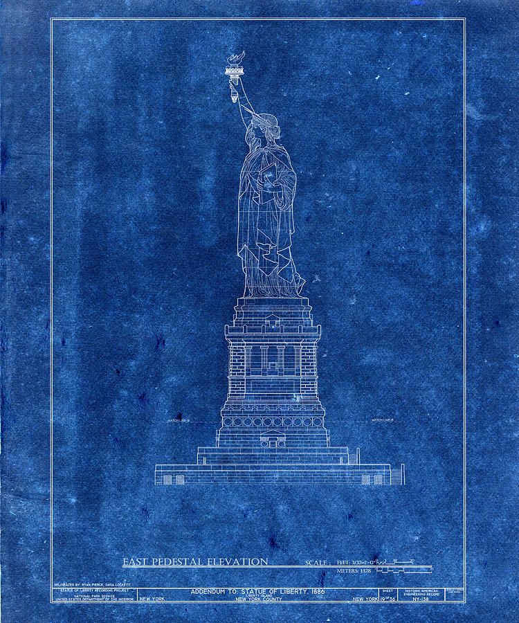 Statue of liberty blueprint 3 photograph by andrew fare new york photograph statue of liberty blueprint 3 by andrew fare malvernweather Gallery