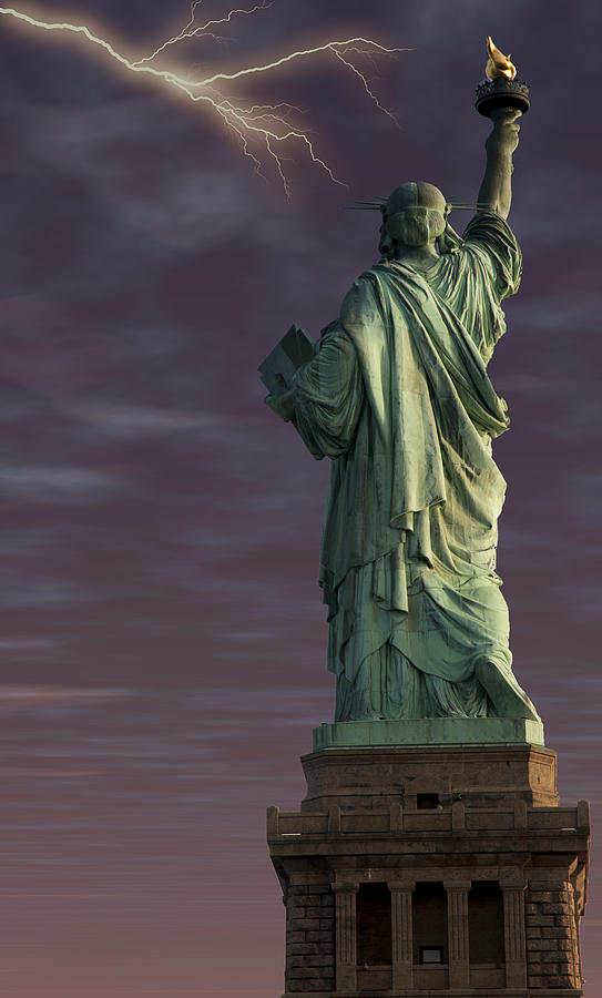 Landscape Digital Art - Statue Of Liberty by Clifford Pugliese