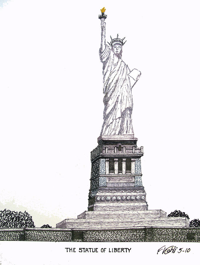 Historic Buildings Images Drawing - Statue Of Liberty by Frederic Kohli