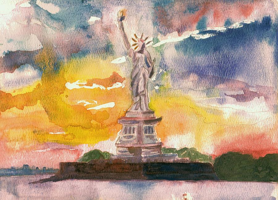 Statue Of Liberty Painting by Nancy Wilt