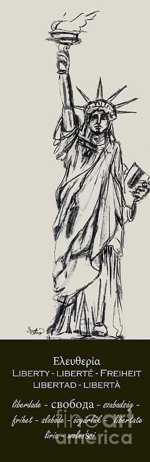 Decorative Drawing - Statue Of Liberty New York by Ginette Callaway