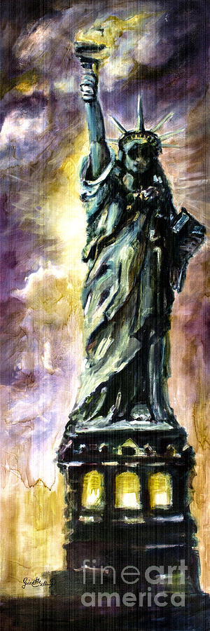 New York Painting - Statue Of Liberty Part 4 by Ginette Callaway