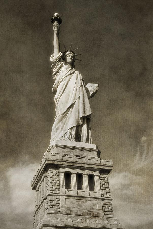 Brown Photograph - Statue Of Liberty Sepia by Dan Sproul