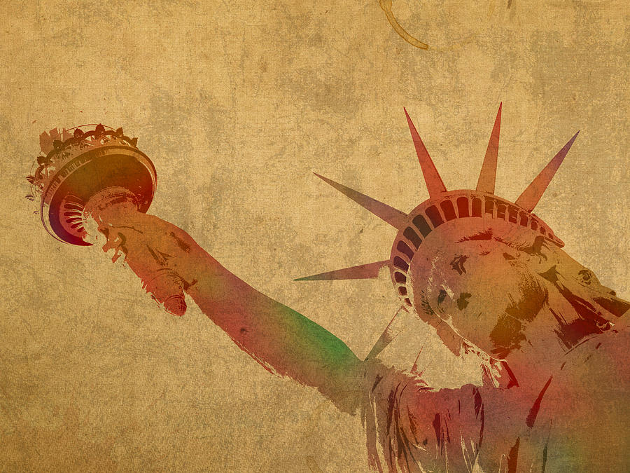 Statue Of Liberty Mixed Media - Statue Of Liberty Watercolor Portrait No 3 by Design Turnpike
