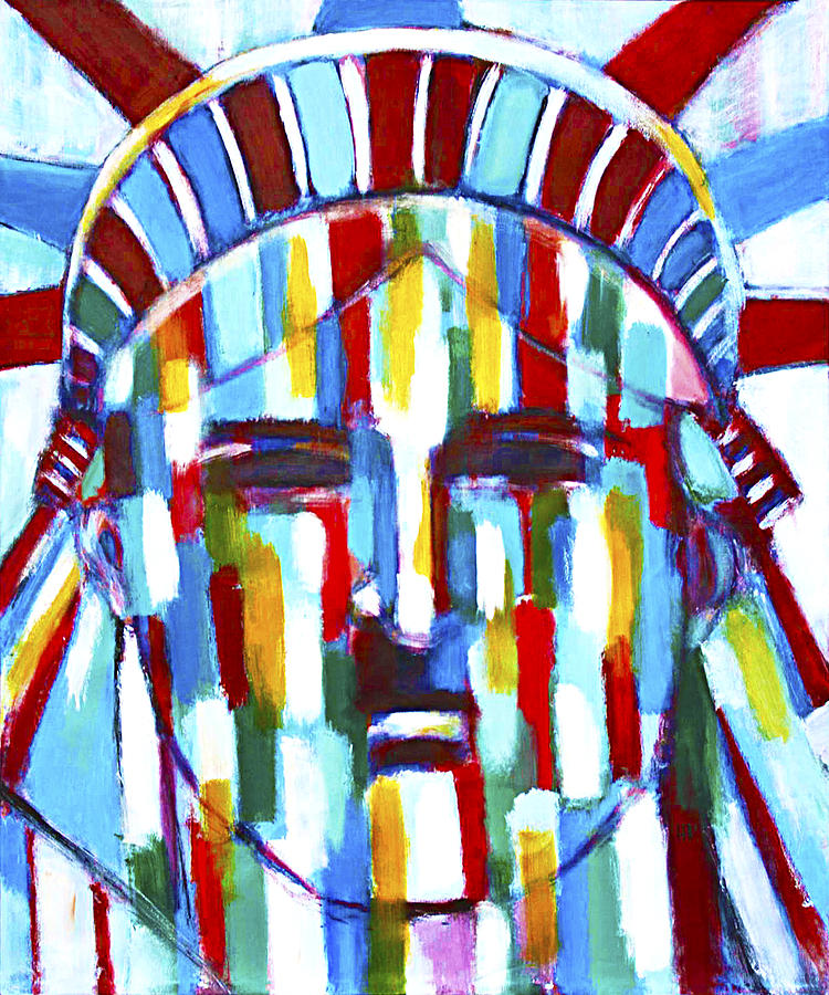 Abstract Painting - Statue Of Liberty With Colors by Habib Ayat