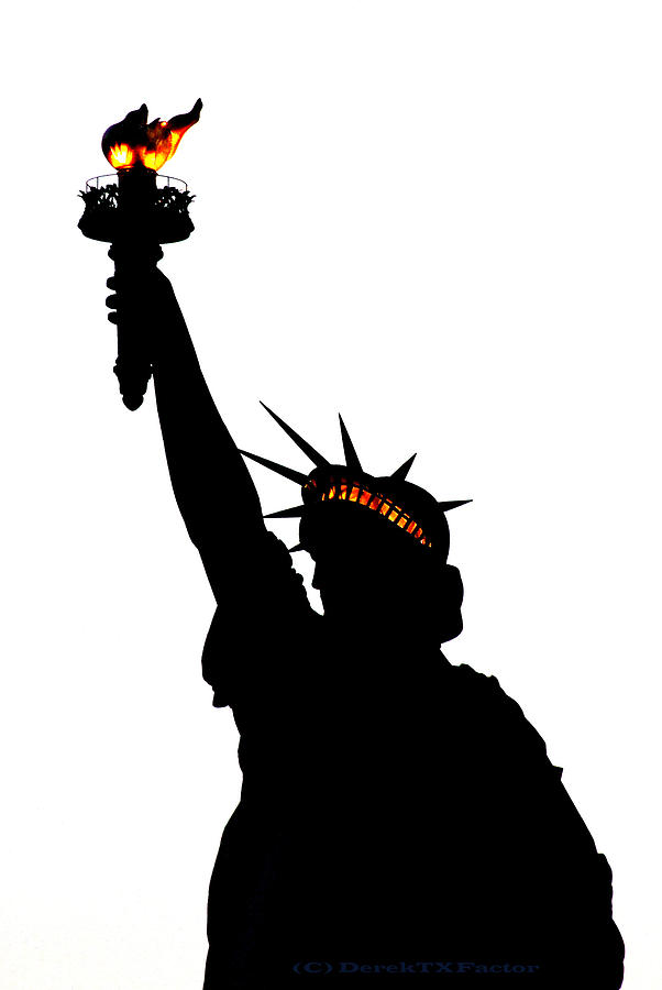 Statue Of Liberty Photograph - Statue Of Libery-silhouette by DerekTXFactor Creative