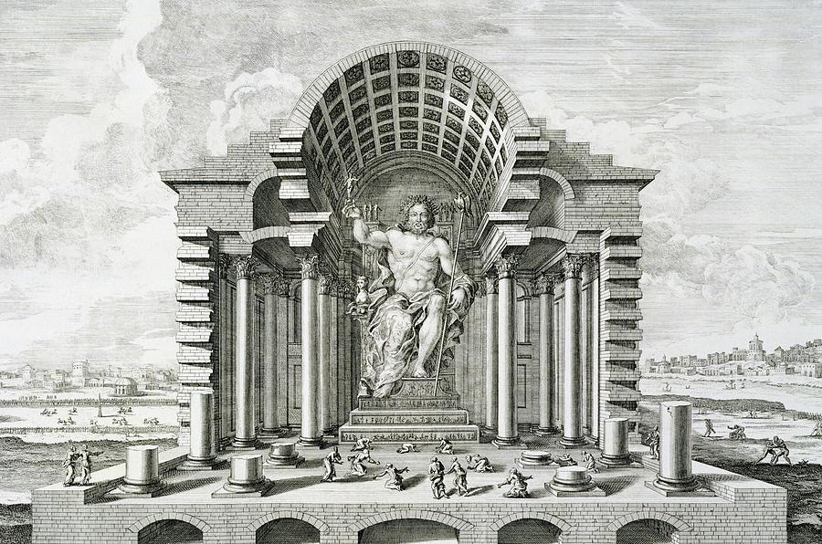 Male Drawing - Statue Of Olympian Zeus by Johann Bernhard Fischer von Erlach