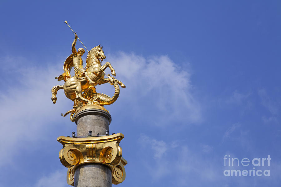 Statue Photograph - Statue Of St George And The Dragon In Tbilisi by Robert Preston