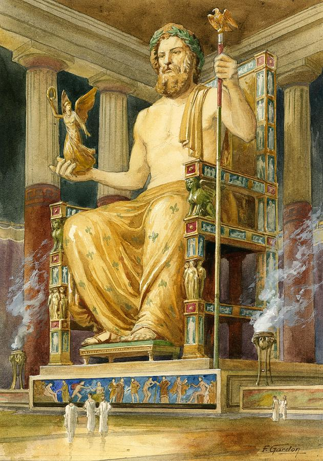 Statue Of Zeus At Oympia Drawing by English School
